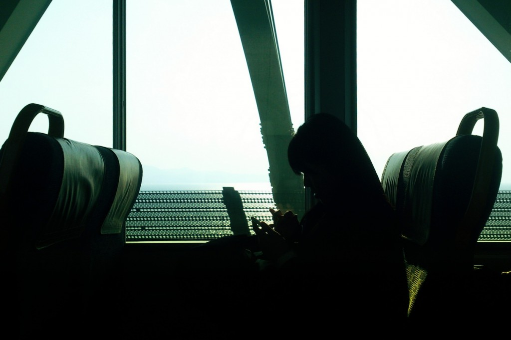 girl in the train from Kansai International Airport